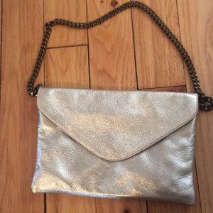 J Crew Metallic Clutch with chain strap